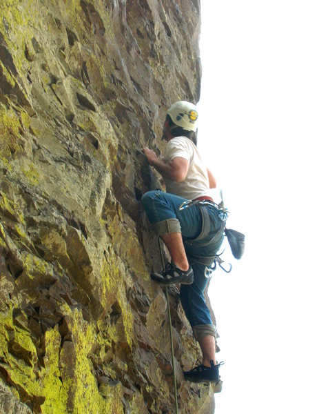 Rock Climbing Photo: The green lichen is all over the north side of the...