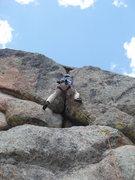 Rock Climbing Photo: Crux of 2nd pitch.
