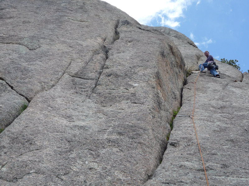 Rock Climbing Photo: The fun first pitch crack before it heads left.