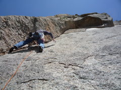 Rock Climbing Photo: Heading up the dihedral on the second pitch.