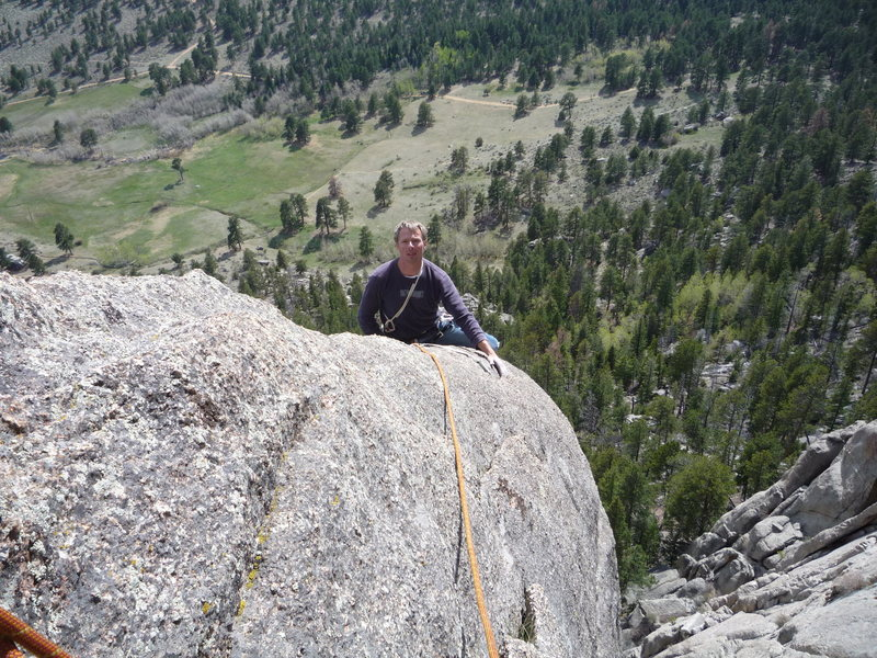 Rock Climbing Photo: Mark topping out on the Bookmark Pinnacle.