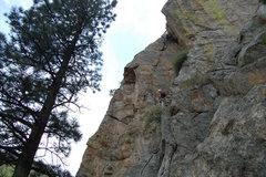 Rock Climbing Photo: Matt Bolt on a potential first ascent, belayed and...