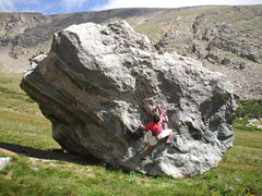 Rock Climbing Photo: Bob Horan bouldering in August at Swissco, Idaho S...