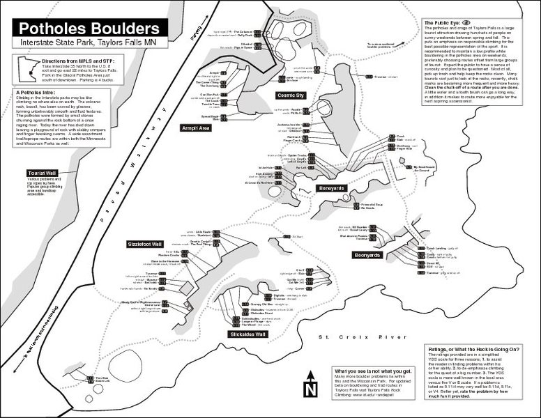 Found on the Internet: a nice overview map of the Minnesota Side Taylors Falls Bouldering, I would like to add credit if I knew who to credit! Credit to one Joel Anderson?<br> http://www.iit.edu/~andejoe1/Rockguide/home.htm