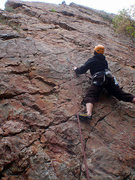 Rock Climbing Photo: First bolt clipped. Can barely see a guy at the ch...