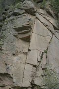 Rock Climbing Photo: The line takes the right-leaning finger crack past...