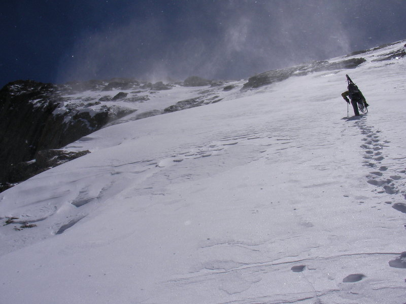 Jeff booting up the North Face of Longs Peak