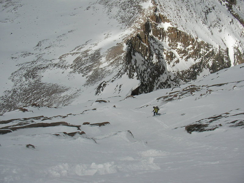Jeff Barnow making tele turns on the North Face of Longs Peak.  Photo by: Austin Porzak