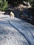 Rock Climbing Photo: Sandra on the nice, low angle hand crack.