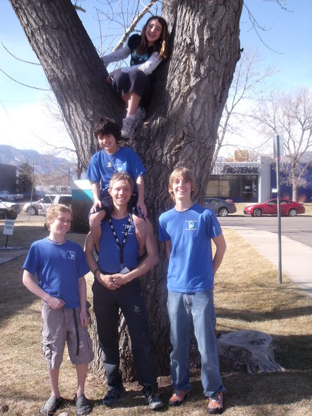 Some members of Gunnison's youth climbing team, the Peaceful Warriors. Daisy WIllis (in tree), (L-R) Jack Startkebaum, coach Alec Solimeo, Caleb Justice and Sebastain Infantes on Solimeo's shoulders. Photo from bouldering nationals at The Spot in Boulder.