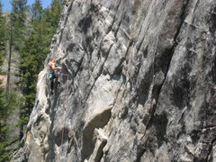 Rock Climbing Photo: Sal hitting up the traverse right after the crux.