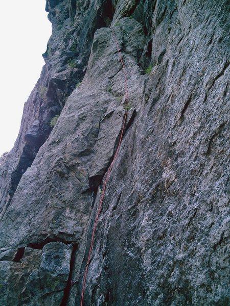 "Rock Climbing Photo: Pitch 1 of Atlantis. Notice the ""pillar""..."