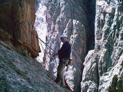 "Rock Climbing Photo: Jeff Bevan belaying on ""lightning bolt ledge&..."