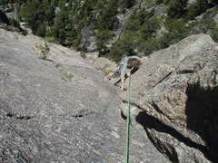 Rock Climbing Photo: Looking down the classic dihedral on the 2nd pitch...