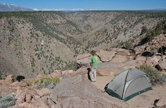 Rock Climbing Photo: The north end of the Owens Gorge, slicing through ...
