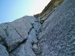 Rock Climbing Photo: Looking up pitch 1 of The Step.  The crux is the r...