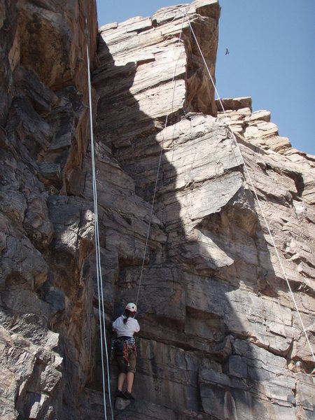 Black Cleft is the route on the farthest left rope