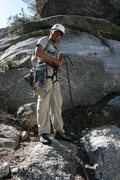 Rock Climbing Photo: Nathan Fitzhugh at the base of El Wampo. 5-16-09