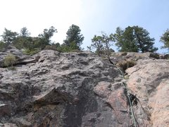 Rock Climbing Photo: Looking up P2-3, stay right of overhangs & slots.