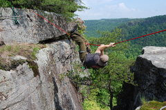 Rock Climbing Photo: Me taking the scenic route to the point this crack...