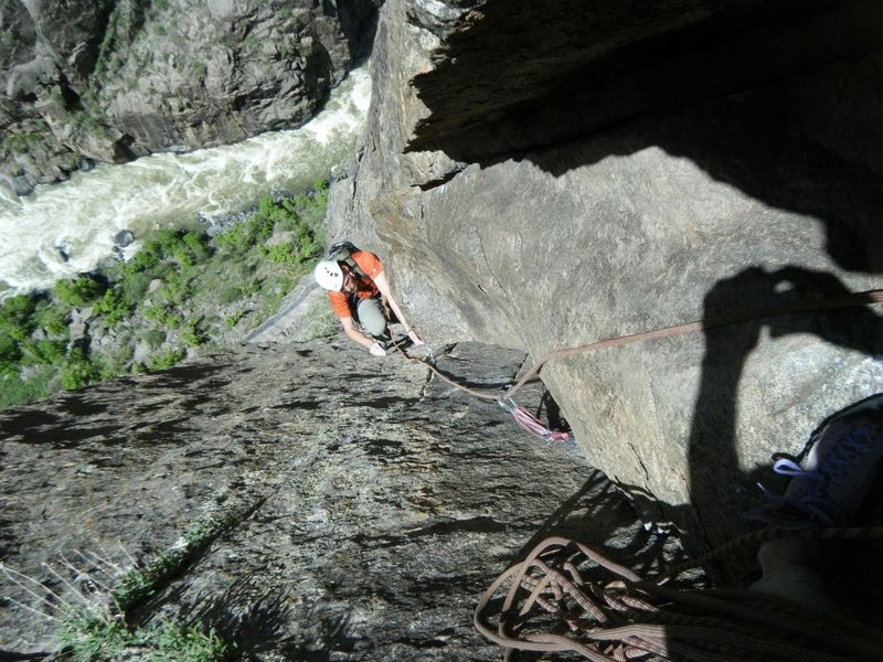 Coming up to the belay on the fifth pitch of Atlantis.