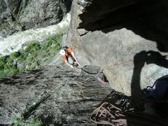 Rock Climbing Photo: Coming up to the belay on the fifth pitch of Atlan...