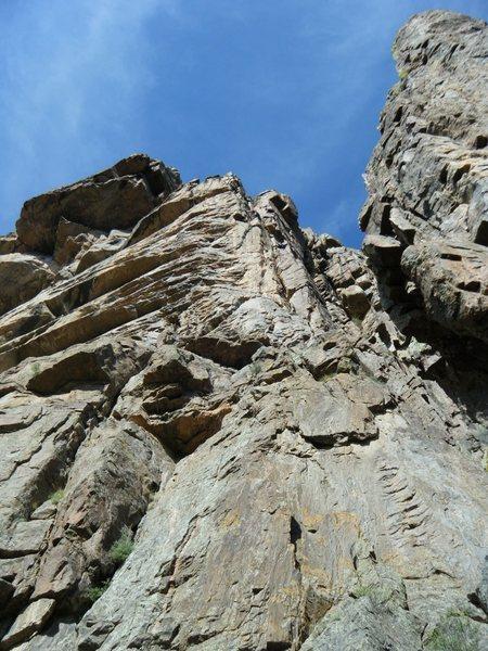 Rock Climbing Photo: Looking up at the final three pitches of Atlantis.