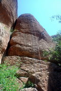 Rock Climbing Photo: The blue rope is next to the bolt line for Easy Po...
