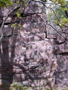 Rock Climbing Photo: Climbs up middle of face.