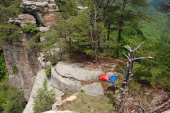 Rock Climbing Photo: Looking down at the top of point from boulder on t...