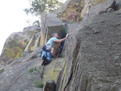 Rock Climbing Photo: Below the wide section. A #4 or #5 Camalot comes i...