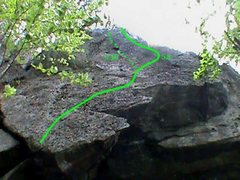 Rock Climbing Photo: The solid line is the way i did it, seemed like th...