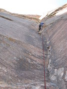 Rock Climbing Photo: Mike linking pitches 4 and 5.
