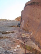 Rock Climbing Photo: Mike leading the 1st Red Dihedral pitch.