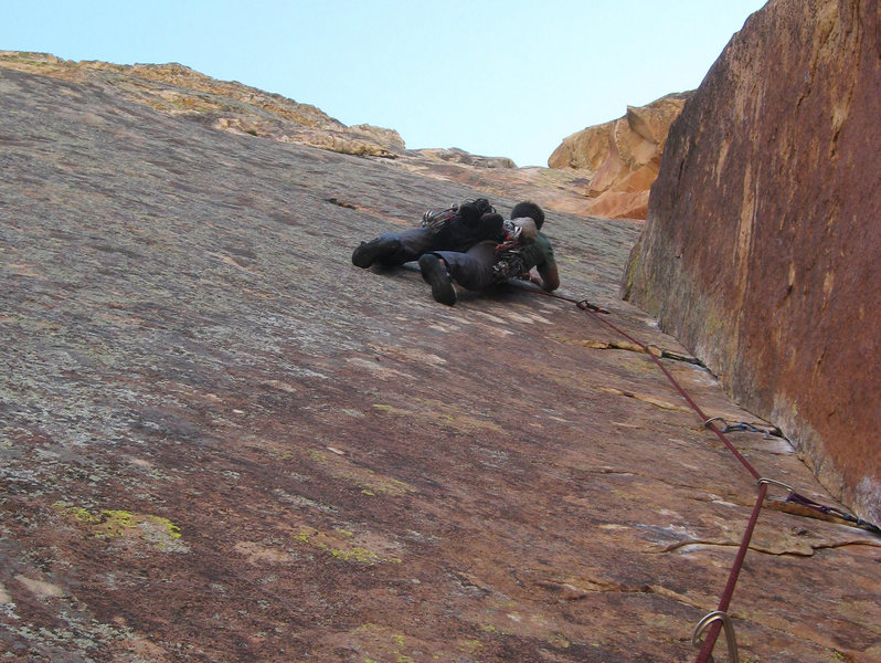 Darren leading the second Red Dihedral pitch.  photo by Mike