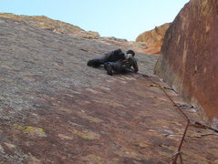Rock Climbing Photo: Darren leading the second Red Dihedral pitch.  pho...
