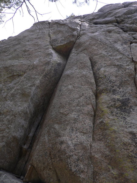 Rock Climbing Photo: Looking up at Peapod. There are two fixed pins on ...
