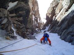 Rock Climbing Photo: Brenta arriving near my belay atop P1.  I stretche...