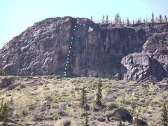 Rock Climbing Photo: Fear is Never Boring. Rappels marked in red.