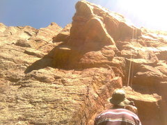 Rock Climbing Photo: Si climbin' the dihedral crack . . roof to the lef...