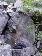 Rock Climbing Photo: Start right of small roof and climb up to left are...