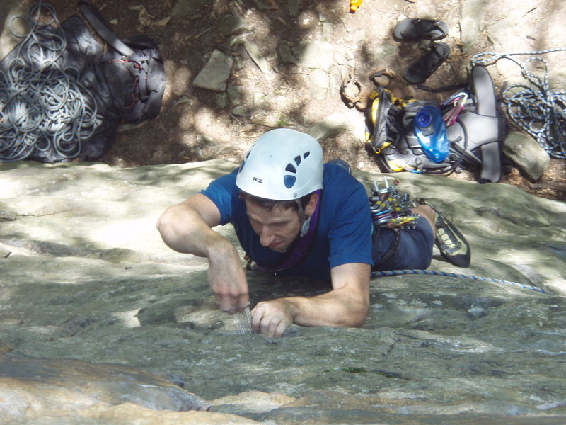Rock Climbing Photo: leading a short 5.6 climb