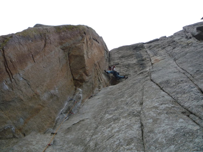 Big holds and a nice crack at the top of the route.