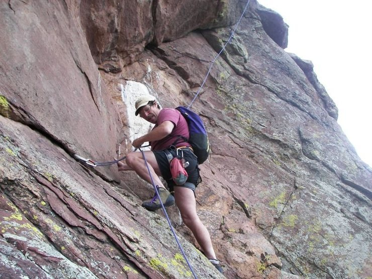Rock Climbing Photo: Rich climbing past the white bird guano above the ...