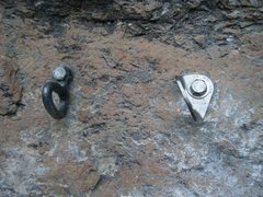 Rock Climbing Photo: The old and the new. The third bolt on the extensi...