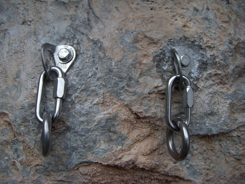 The new belay/rappel anchor for The Long Haul at the Puoux, Glenwood Canyon.