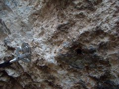 Rock Climbing Photo: The old hole next to the new bolt on the 6th (?) b...