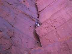Rock Climbing Photo: Leading the first pitch.  I wish I had some big br...