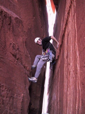 Rock Climbing Photo: Jay Hicks deep in the Priest on the second pitch.