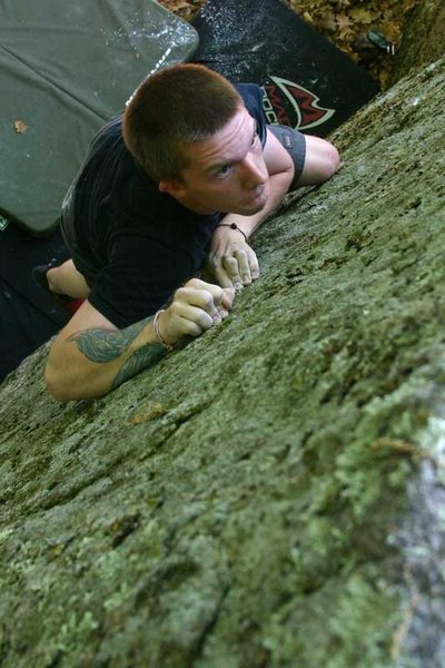 Rock Climbing Photo: mike pulling on crimps and headed to the top...
